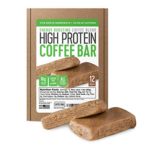 Protein Coffee Energy Bar, Made with Five Simple Ingredients, All Natural, Gluten Free, Non GMO & 16g of Protein, Made with Real Coffee (55mg Caffeine per bar), 12 Bars (Peanut Butter)