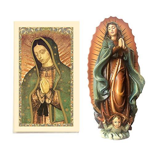 """4""""nuestra Señora de Guadalupe Estatua con tarjeta de oración laminado incluido. Estatuilla de la Virgen de Guadalupe (4"""" H)-incluye tarjeta de oración"""