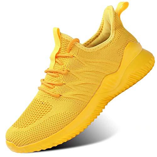 Womens Ladies Walking Running Shoes Slip On Lightweight Casual Tennis Sneakers Girls Kids Zapatos de Mujer Yellow