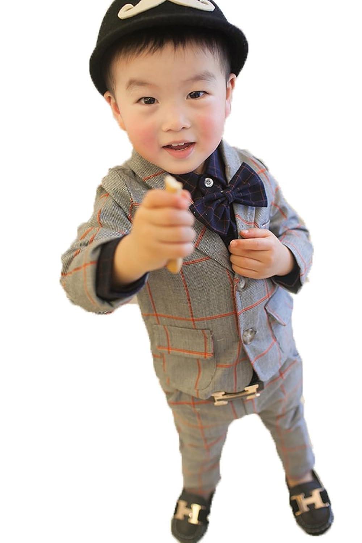 ニューヤ (Newya) 男の子 豪華 フォーマル 子供スーツ ギッズ服 卒園式 フラワーボーイズ 卒業式 入学式 演奏会 ピアノ出演服 スーツ 紳士服 洋服 二セート コート+ズボン グレー 100cm