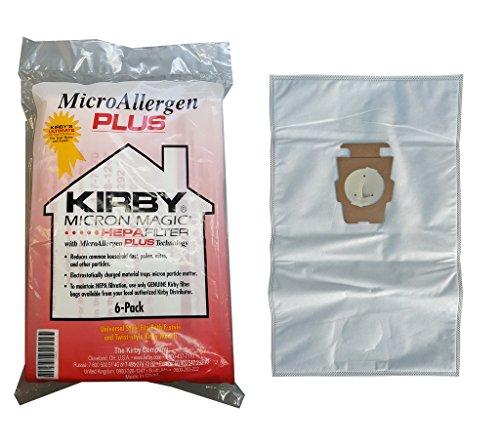 Kirby - Sacchetti per aspirapolvere Micron Magic, filtro HEPA con tecnologia MicroAllergen Plus, bianco, 1 Package of 6 bags