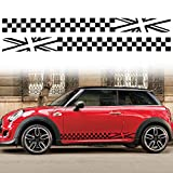 TOMALL 1 Pair 78.7'' Car Universal Racing Checkered Flag Side Stripes Decal Compatible with Mini Cooper Vinyl Waterproof Door Side Stickers Lattice Self-Adhesive Decal Decorations Accessories (Black)