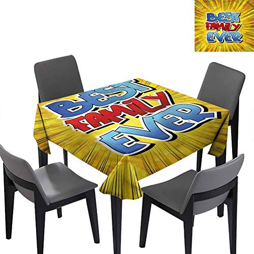Family Small Square Tablecloth Best Family Ever Words for Banquet Decoration Dining Table Cover 50x50 inch