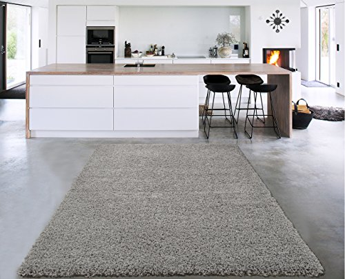 "Sweet Home Stores Cozy Shag Collection Grey Solid Shag Rug (5'0"" X 7'0"") Contemporary Living and Bedroom Soft Shaggy Area Rug"