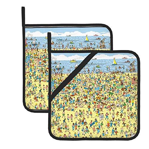 Wellay Where'S Waldo On The Beach - Presina resistente al calore, per cucinare, grigliare e cuocere al forno, 7,1 x 20,3 cm