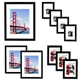 Vsadey 10 Pack Picture Frames Collage Wooden Photo Frames Wall Gallery Kit for Wall and Home with Mat, One 11x14 in, Two 8x10 in, Three 5x7 in, Four 4x6 in, Black