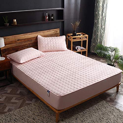 HPPSLT Protector de colchón de Rizo algodón y Transpirable Sábana de Cama a Prueba de Polvo Todo Incluido de algodón de una Sola Pieza-Jade Rejilla Grande_120x200cm