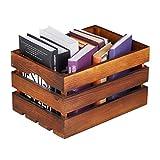 Relaxdays Caja Vintage, decoración para Vino (Madera, 20 x 35 x 25 cm), Color marrón Oscuro, Mittel