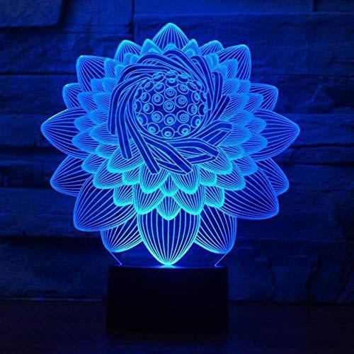 3D Illusion Night Light 7 colores Led Vision Lotus Flower Shape Interruptor de mesa Floral USB Sleep Kids Dormitorio Decoración Colorido Regalo creativo Control remoto