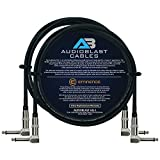 Audioblast - 2 Units - 6 Foot - HQ-1 - Ultra Flexible - Dual Shielded (100%) - Guitar Instrument Effects Pedal Patch Cable w/Eminence Right-Angled ¼ inch (6.35mm) TS Plugs & Double Staggered Boots