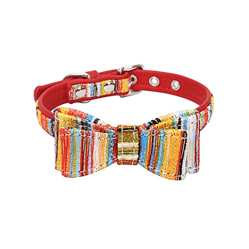 CAOQAO Hundehalsband mit Mode-Muster Exquisite und niedlicher Druck - geeignet für Welpen und Katzen - Farbe: Rot/Blau/Rosa/Rosa - Größe 4