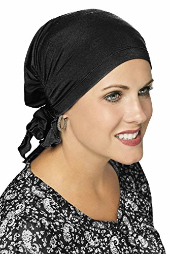 Cardani Easy On Pre Tied Head Scarf   Cancer Chemo Scarves Luxury Bamboo - Black
