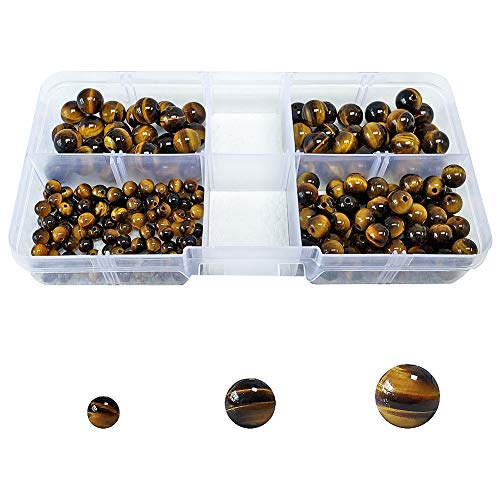 Chengmu 4mm 6mm 8mm Stone Beads Kit for Jewelry Making 215pcs Natural Stone Gemstone Round Loose Beads Set for Bracelet Necklace with Accessories Tools (Tiger Eye Stone)