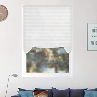 6 Pack Temporary Window Shades Cordless Blinds Light Filtering Pleated Fabric Shade Easy to Cut and Install, with 4 Clips, 48