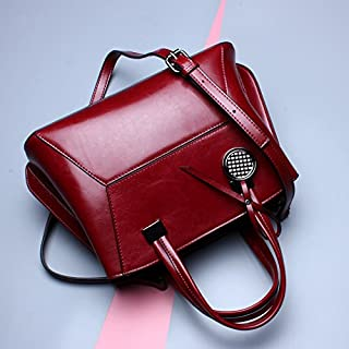 Leather 2018 New Women's Handbag Leather Handbag Leather Slung Shoulder Wallet Oil Wax Wallet Waterproof (Color : Red, Size : M)