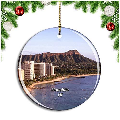 Honolulu Waikiki Beach Hawaii USA Christmas Ornament Xmas Tree Decoration Hanging Pendant Travel Souvenir Collection Double Sided Porcelain 2.85 Inch