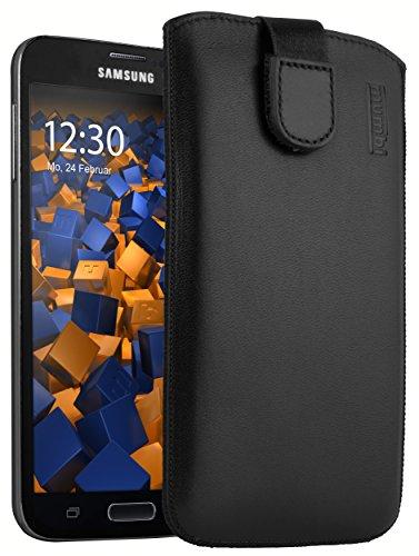 mumbi Echt Ledertasche kompatibel mit Samsung Galaxy S5 / S5 Neo Hülle Leder Tasche Case Wallet, schwarz