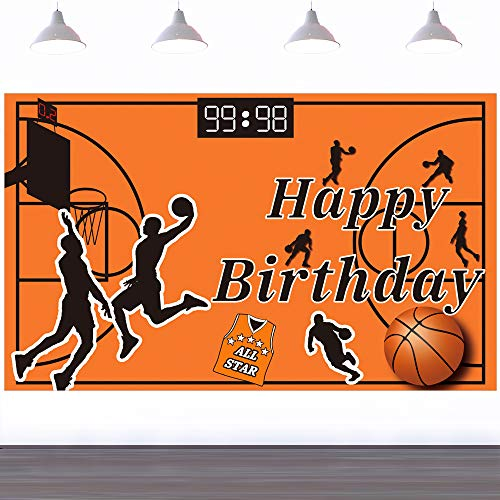 Ushinemi Basketball Happy Birthday Backdrop Party Decorations Supplies for Boys Son Kids Birthday Banner, Large Basketball Signs, 6X3.6Ft