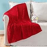 MIULEE Fleece Baby Blanket with Stripe Pattern for Boys, Girls, Kids, Infant, Newborn Fuzzy Flannel Throw Blanket Plush Warm Cozy Boho Decor Christmas Blanket for Crib Stroller Nap 30'x40' Red