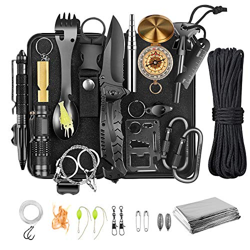Survival Gear and Equipment,Survival kit 30 in 1,Cool Camping Hiking Hunting Fishing Gifts for Men dad Husband Father boy Friend