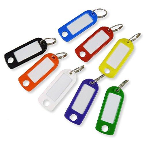 Schlüsselanhänger bunt gemischt mit Schild und Ring - 100 Stück - Schlüsselschild zum Beschriften und Auswechseln - stabile Ausführung
