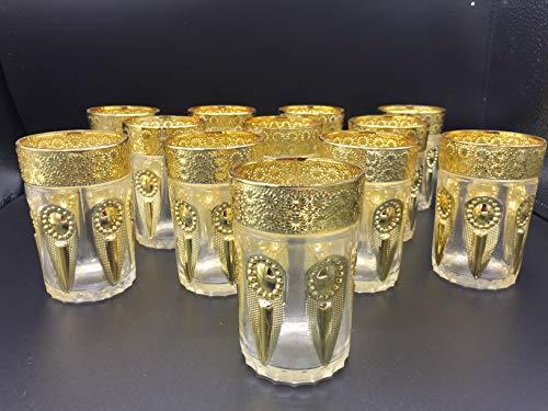 ML Set de 12 de Vasos de Cristal para Té marroquí (Dorado con Detalles lagrimas)