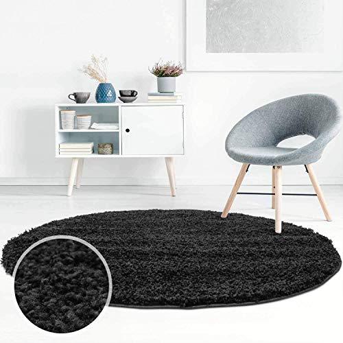 ayshaggy Shaggy Teppich Hochflor Langflor Einfarbig Uni Schwarz Weich Flauschig Wohnzimmer, Größe: 120 x 120 cm Rund