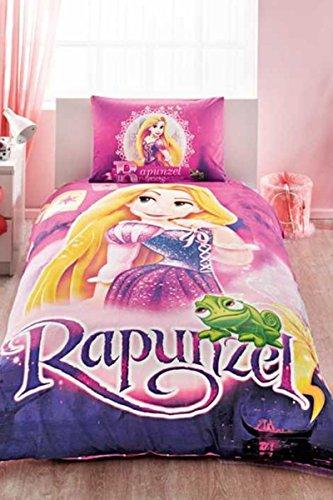 Original Juego de Funda de Edredón, diseño de Disney Rapunzel, Para Cama individual, 100% algodón, 3 Piezas (funda de edredón + sábana ajustable + funda almohada)