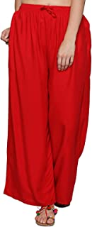 Ishin Women's Crepe Red Solid Palazzos