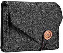 ProCase MacBook Power Adapter Case Storage Bag, Felt Portable Electronics Accessories Organizer Pouch for MacBook Pro Air Laptop Power Supply Magic Mouse Charger Cable Hard Drive Power Bank –Black