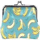 Portefeuille Plantain Banane Motif Fond Bleu Porte-Monnaie Pochettes en Cuir Changer Titulaire Carte Embrayage Sac À Main