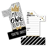 Big Dot of Happiness 1st Birthday Little Mr. Onederful - Shaped Fill-In Invitations - Boy First Birthday Party Invitation Cards with Envelopes - Set of 12