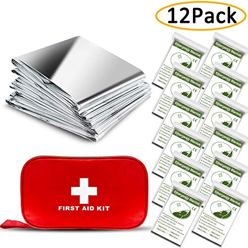 ANCwear Emergency Blankets Pack-12,Foil Mylar Thermal...