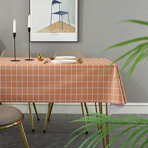 Ahuike Stain Dust Proof Cloth Decorative Table Cloths Pvc Household Home Wipe Clean Folding Tablecloth orange 90×90cm