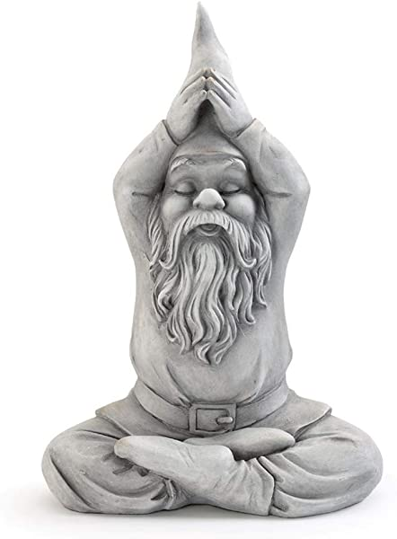 Gnome Yoga Namaste Pewter Grey 13 Inch Resin Stone Collectible Figurine