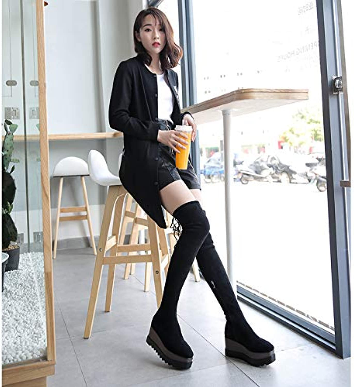 Shukun Stiefeletten Lange Stiefel Frauen über den Knien Plateauschuhe Damen dicken Sohlen hochhackige hochfeste Ofenrohr Stretchstoff Stiefel Kinder