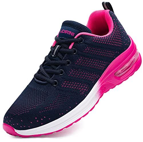 Ziboyue Sicherheitsschuhe Damen Luftkissen Stahlkappe Arbeitsschuhe Leicht Atmungsaktiv Sportlich Schutzschuhe(Dunkelblau Pink,38 EU)