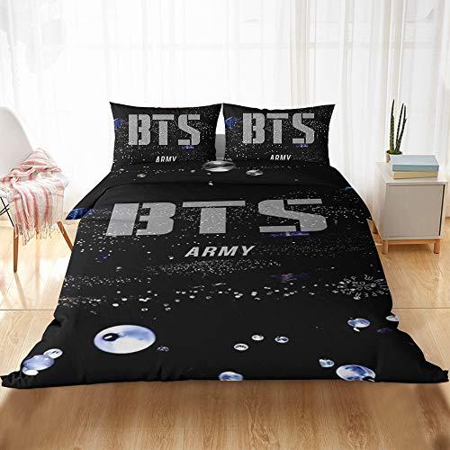 HY - Juego de ropa de cama BTS con edredón y funda de almohada (100% microfibra, impresión digital 3D, juego de cama de 2/3 piezas)