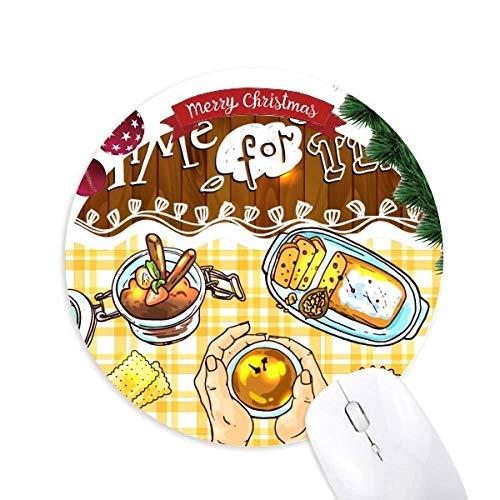 Zeit für Tee Kekse Schokolade rund Gummi Maus Pad Weihnachtsbaum Mat