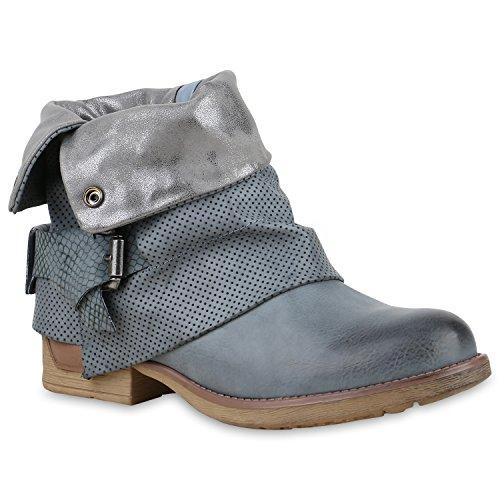 Damen Stiefeletten Biker Boots Schnallen Nieten Knöchelhohe Stiefel Leder-Optik Schuhe 129839 Hellblau Autol 36 Flandell