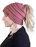 Messy Bun Womens Winter Knit Hat Beanie Tail - Mauve