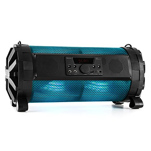 auna Thunderstorm S tragbarer Lautsprecher Boombox Ghettoblaster (Bluetooth, 60 Watt max, MP3-fähiger USB-Port und SD-Slot, Line-In, LED-Display, App-Steuerung, Fernbedienung, Tragegurt) schwarz