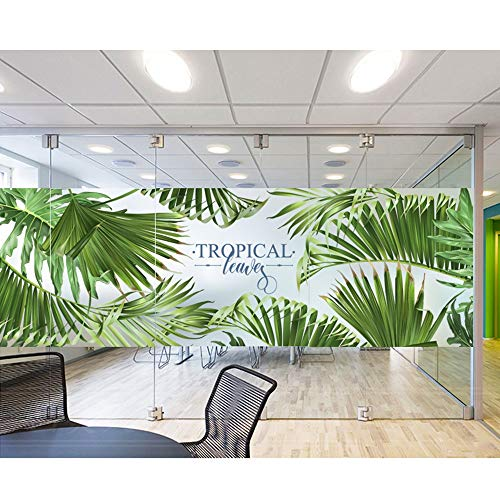 QINQI - Raamsticker Privacy Raamfolie Tropische Planten Decoratieve Raamstickers Glas-in-lood Frosting-film Zelfklevende Glasfolies Zonder Lijm (Size : 60x90cm)