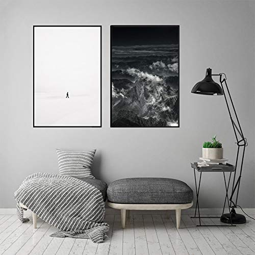 SGFG Pinturas de Lienzo nórdicas Póster de Personaje de Onda Abstracta en Blanco y Negro Arte de la Pared Imagen Moderna para la decoración de la Sala de Estar 30x40cmx2 Sin Marco