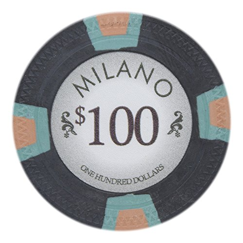 Claysmith Gaming Milano Poker Chip Lightweight 10-Gram Casino Clay – Pack of 50 ($100 Black)