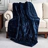 Uttermara Sherpa Fleece Weighted Blanket 20 lbs for Adult, Unicolor Ultra-Soft Fleece and Sherpa, Dual Sided Cozy Plush Blanket for Sofa Bed, 60 x 80 inches, Navy Blue