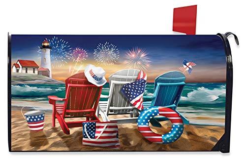 Briarwood Lane Beachfront Fireworks Summer Magnetic Mailbox Cover Patriotic