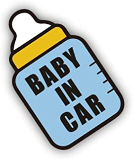 Baby in Car Sign, Self Adhesive Vinyl Decal Sticker, Baby Feeder Style Road Warning Sign for New and Old Drivers Behind Fo...