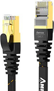 CAT7 Shielded Ethernet Cable - AMPCOM Flat Network Patch Cord (10G 600MHz) with Gold Plated Lead & Shielded RJ45 Connector...