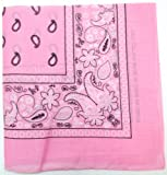 Kaiser Novelty Bandanas Paisley Cotton Bandanas (Light Pink  22 X 22 in)